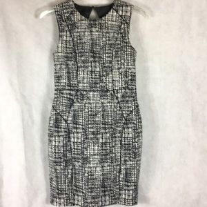 H&M Black white and gray lined dress size 12
